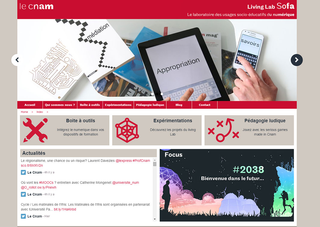 Site internet du Living-lab du Cnam