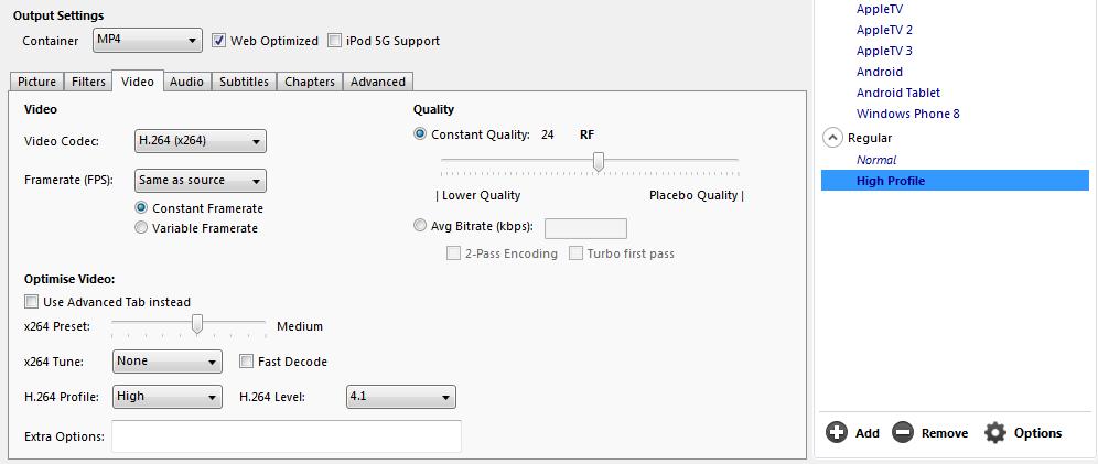 Paramètres Handbrake pour l'encodage WMV vers MP4